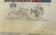 Detail of a miniature of dog-like gold-digging ants attacking a group of men who have come to steal their gold, from the Queen Mary Psalter, England, 1310 – 1320, Royal MS 2 B VII, f. 96r