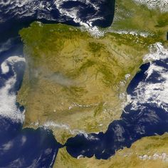 Satellite image of Spain and Portugal in 2001 (NASA).