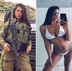 Bikinis And Bazookas! The Stunningly Beautiful Women Of The IDF Sexy Bikini, Bikini Girls, Sexy Women, Badass Women, Mädchen In Uniform, Idf Women, Military Women, Military Jacket, Female Soldier