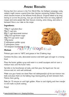 During their first venture in the First World War, the Gallipoli campaign, lucky soldiers might receive a parcel from their families containing Soldiers' Biscuits, which became known as the beloved Anzac Biscuit. Eggless Recipes, Apple Recipes, Sweet Recipes, Cookie Recipes, Dessert Recipes, Desserts, Biscuit Cookies, Biscuit Recipe, Anzac Cookies Recipe