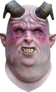 Demon Gula Mask with the fat face, the demoniac eyes and the curved horns is a full head latex mask, carefully painted by hand. Viking Costume, Medieval Costume, Latex, Viking Drinking Horn, Weird Gif, Beautiful Mask, Viking Jewelry, Fantasy Jewelry, Halloween Horror