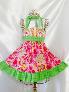 Girls Viva la vida! Ellie Halter Dress Size 4 Handmade; Everyday Use; 100%cotton #Handmade #Everyday