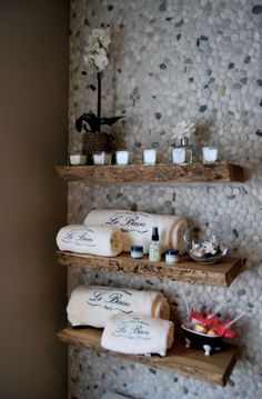 like the river rock wall and shelving