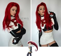 Jessie from Team Rocket in Pokemon. Cosplayer: SosenkaYou can find Team rocket and more on our website.Jessie from Team Rocket in Pokemon. Jessie Costumes, Team Costumes, Character Costumes, Cosplay Characters, Pokemon Cosplay, Pokemon Costumes, Team Rocket Costume, Team Rocket Cosplay, Jessie Team Rocket