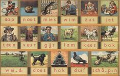 Aap, noot, Mies - staples for learning to write Dutch (back in the day) Dutch Netherlands, Going Dutch, Amsterdam Holland, Time Pictures, My Heritage, Sweet Memories, The Good Old Days, Learn To Read, Retro