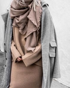 Gray coat over soft blush sweater, skirt and cozy scarf.