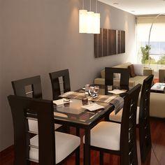 Mesa y sillas tapizadas