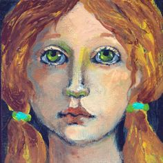 Portrait Girl with Pigtails  in Hair Acrylic Original  on Canvas Board OOAK