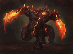 Magma Golem by Wildforge on DeviantArt High Fantasy, Medieval Fantasy, Creature Feature, Creature Design, Weird Creatures, Fantasy Creatures, Demon Art, Fantasy Monster, Fantasy Dragon