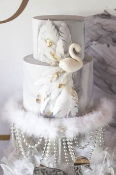 Gorgeous swan cake from a Swan Soiree Birthday Party on Kara's Party Ideas | KarasPartyIdeas.com (15)