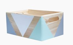 Bring adorable design to your home with this decorative wooden storage crate from Happy Little Folks. It's ideal for holding little bits and pieces (---> our wooden blocks naturally!) in children's room, use it on the desk to house a pen pot, stapler, post-it notes or on the workspace, bookcase or shelf. They're just adorable!  Each box has been carefully hand painted. Bold geometric shapes have been created by using non toxic, water based paint and varnish.   Colours: mint, white, light…