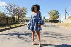 Blue off shoulder African Print Ankara Dashiki Seshoeshoe Seshweshwe Dress - Dresses