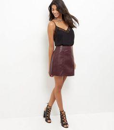 Burgundy Leather-Look Mini Skirt | New Look