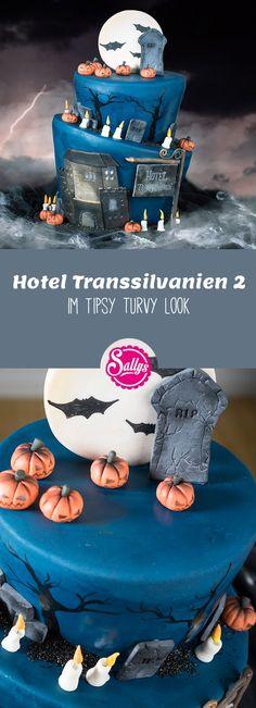"Motivtorte ""Hotel Transsilvanien im Topsy Turvy Look Hotel Transylvania 2, Partys, Halloween Party, Vampires, Recipe, Health, Inspiration, Movie, Halloween Food Recipes"