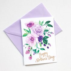 Hand painted purple posy watercolor Mother's Day Card. 100% original art by Michelle Mospens. | Mospens Studio