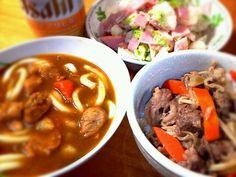 昨日カレーだったのでσ(^_^; - 10件のもぐもぐ - カレーうどんとミニ牛丼 by eripon459