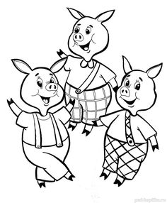 Discover this amazing coloring page of three little pigs