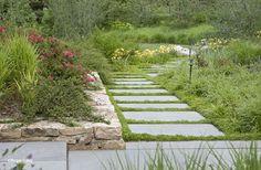 Garden pathways with raised planter Landscape Architecture, Landscape Design, Garden Design, Formal Gardens, Outdoor Gardens, Contemporary Gardens, Garden Stepping Stones, Raised Planter, Garden Steps