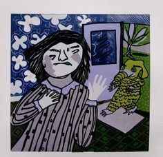 The Little Green Monster linocut relief print by StageFortPress