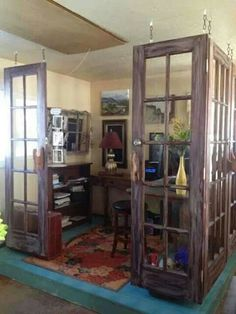 Create a closed space with old doors. Love this idea!!