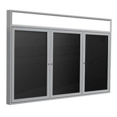 "Ghent 3-Door Flannel Enclosed Letter Board Surface Color: Black, Size: 48"" H x 96"" W x 2.25"" D, Frame Finish: Satin"