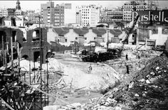 Demolition of buildings to make way for the future Railway station to be completed at Circular Quay, Sydney in 1952. Photo shared by Steve Terrill. v@e.