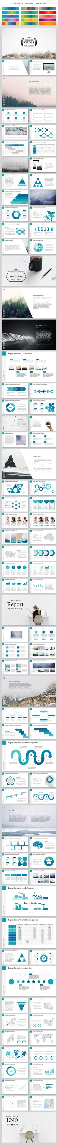 Report PowerPoint Template #design #slides Download: http://graphicriver.net/item/report-powerpoint/14343336?ref=ksioks