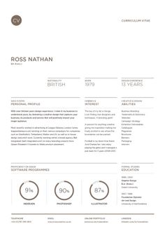 Curriculum Vitae by Ross Nathan, via Behance