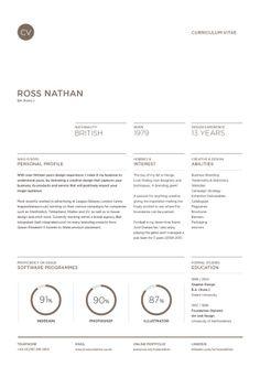 Curriculum Vitae by Ross Nathan, via Behance