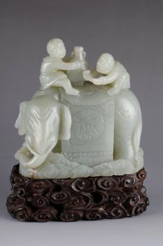 Chinese Celadon Jade Carved Two Men & Elephant : Lot 39