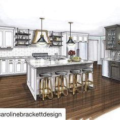 Ah-ma-zing! This is going to be a HUGE transformation! Beautifully designed by Interior Design Renderings, Drawing Interior, Interior Rendering, Interior Sketch, Interior Architecture, Rendered Houses, Kitchen Drawing, Interior Design Presentation, Bedroom Door Design