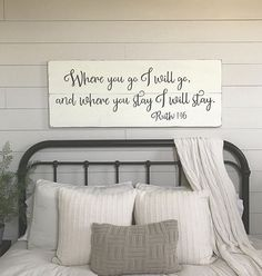 Bedroom wall decor, Where you go I will go » size 48 x 18.5 » painted lettering » background color options: off-white or white (white is a new color option as of 4/26/17) » lettering color: charcoal gray » wire hanger installed on back for easy hanging » made from 3/4 thick white pine