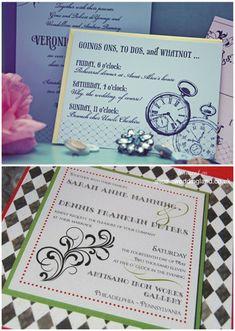 faire parts Thème de mariage : Alice aux pays des merveilles