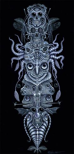 """SPINAL TOTEM (TATTOO) ~ This piece was commissioned by one of my collectors as a painting and a TATTOO. It's painted to form perfectly with the contours of the collectors spinal column and back. ( a 'back piece"""") Precise measurements were taken so that the designs work perfectly with his bone structure, (hence the title)"""