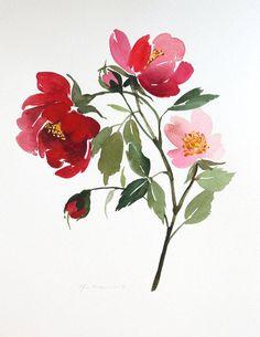"10,5 ""x 13.5"" botanique rouges Roses - aquarelle peinture"