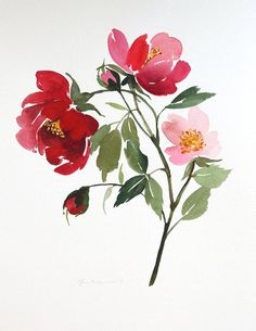 10.5 x 13.5 Botanical Red Roses Watercolor by YaoChengDesign, $130.00