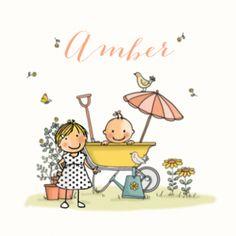 Geboortekaartje zusje met meisje in kruiwagen