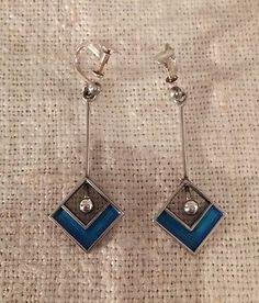 Ivar-Holth-Norway-Vintage-Sterling-Silver-Blue-Enamel-Modernist-Earrings