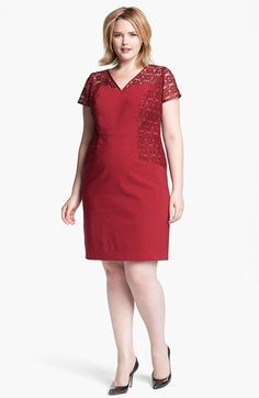 Adrianna Papell Mixed Media Sheath Dress (Plus Size) available at #Nordstrom $158