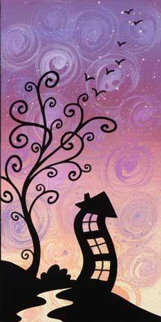 """quadro fiabesco """"casette""""   cm 15x30   dipinto a mano da Max e Elena Panizza   www.panizza.info"""