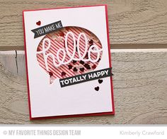 Pinstripe Background, Totally Happy, TRANS-formables Say Hello Die-namics - Kimberly Crawford  #mftstamps
