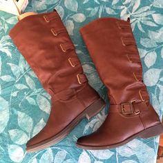 Faux leather riding boots Excellent condition faux leather riding boots with buckles up the back. Worn once to my nieces wedding. Shoes Heeled Boots