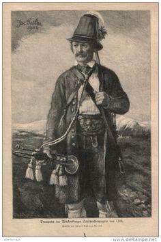 Trompeter der Wackersberger Schützenkompanie von 1705  - Druck, entnommen   aus…