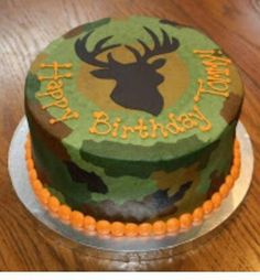Camo Cake - instead do orange and blue beads/pearls and use a gator on top, not a buck