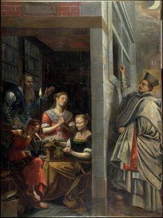Saint Nicolas jetant une bourse par la fenêtre d'une maison dans laquelle trois jeunes filles font de la dentelle. Huile sur toile de Henri II de VERMAY. musée des beaux-arts de Valenciennes - FRANCE