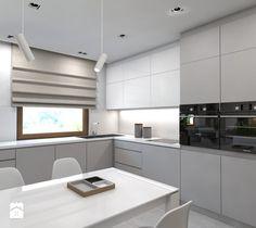 (Dom w okolicy Lublińca) Dom jednorodzinny 7 - Duża otwarta kuchnia w kształcie litery l w aneksie, styl nowoczesny - zdjęcie od BAGUA Pracownia Architektury Wnętrz