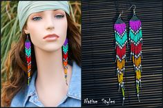 Long Rainbow Shoulder Duster Earrings~Seed Beaded Native American Inspired~Modern Long Hippie Chic~Multicolor Fringe Gypsy Style~Statement by NativeStyles on Etsy