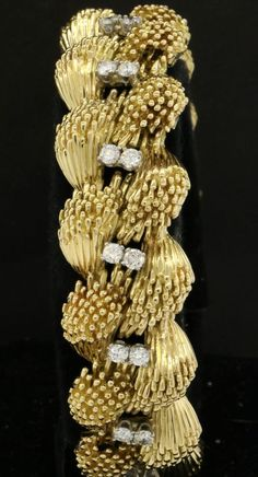 Honora vintage heavy 18K gold amazing 2.70CT VS1/F diamond link bracelet
