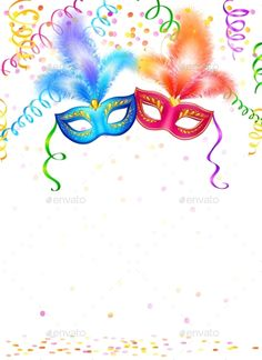 Bright carnival masks with confetti and serpentine on white background, vector party poster template