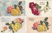 LOT of 4 Artist Signed Catherine Klein ROSE Postcards - Flowers Roses C. Klein